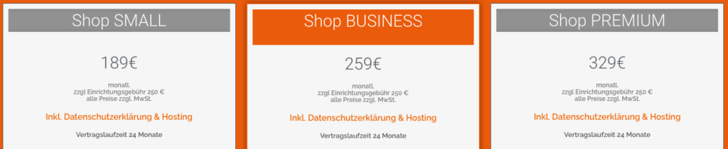 Webshop-Miete